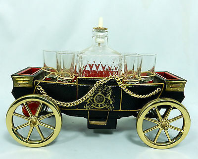 Vintage Musical Carriage Coach Decanter 6 Glass Holder Royal Craft Collection