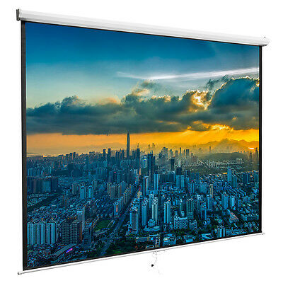 Projection 100'' 16:9 Screen Manual Pull Down Projector Home Movie Matte White
