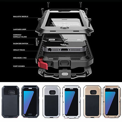 Aluminum Metal Shockproof Gorilla Glass Case Cover For Samsung Galaxy S6 Edge/S7