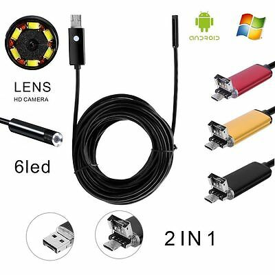 2in1 8mm 10M Endoscope USB Waterproof Borescope Inspection Camera For PC&Android