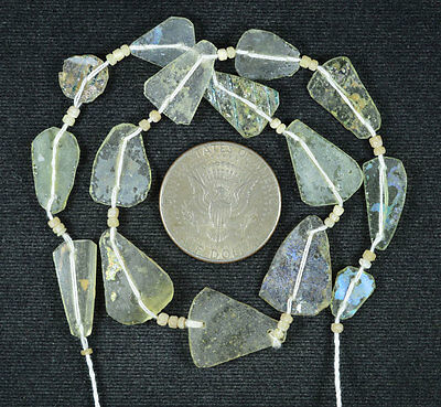 Ancient Roman Glass Beads 1 Medium Strand Aqua And Green 100 -200 Bc 567