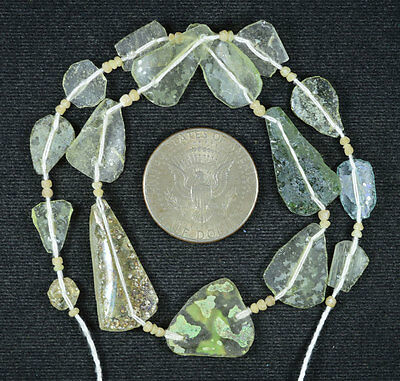 Ancient Roman Glass Beads 1 Medium Strand Aqua And Green 100 -200 Bc 571