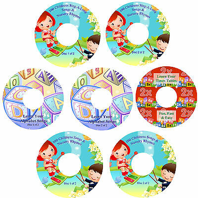 Childrens Fun Learn Times Tables The Alphabet 200 Nursery Rhymes & Songs 7 CDs