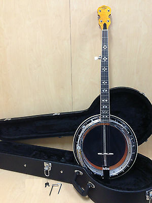 Caraya 009A Premium 5-string Flame Maple Resonator Banjo,ClearTop,Tone Ring+Case