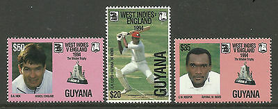 GUYANA 1995 CENTENARY ENGLISH CRICKET TOURS 3v MNH