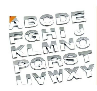 """25mm 1"""" Inch Chrome 3D Self-adhesive Letter number car boot door sticker Auto"""