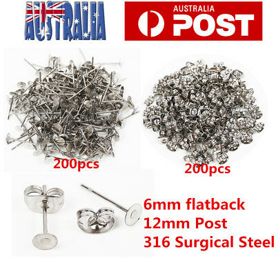 200 Surgical Steel 6mm pad Flatback Ear Stud Earring Finding & Nut backs 100pr