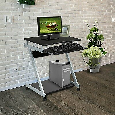 Compact Computer Desk Z-Shaped with Keyboard Shelf Trolley PC Laptop Table Black