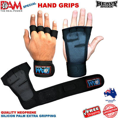 DAM Grip pads wrist supports gloves Gym Weightlifting Fitness Hand Grips wraps