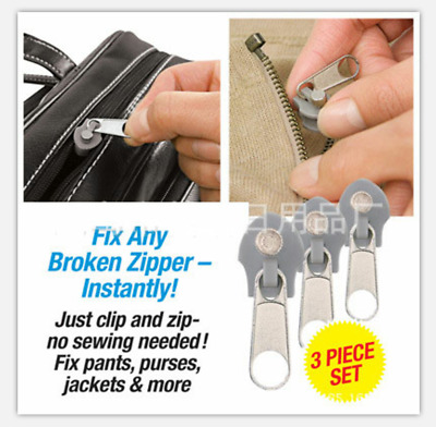 3 Sizes TV 6Pcs Fix A Zipper Zip Slider Rescue Instant Repair Kit Replacement