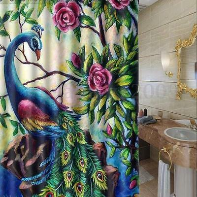 Colorful Flower Peacock Polyester Bathroom Shower Curtain 72 inch With 12 Hooks