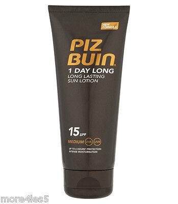 PIZ BUIN 1 Day Long Lasting Sun Lotion SPF 15 Medium 100ml Sun Protection New
