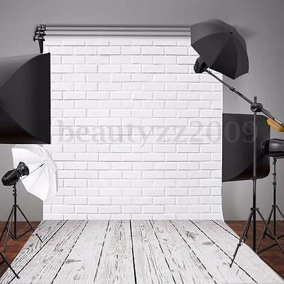 5x7FT White Brick Wall Wood Floor Vinyl Photography Backdrop Background Props