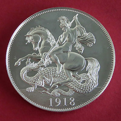 GEORGE V 1918 PATINA SERIES GEORGE & DRAGON SILVER PROOF PATTERN CROWN - coa