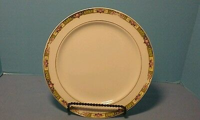 """Edwin M Knowles Semi Vitreous10-1/8"""" Dinner Plate White Floral Design"""