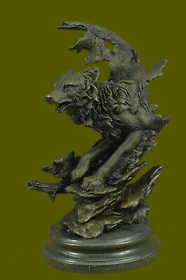 Miguel Lopez Real Bronze Howling Wolf on Moon Sculpture Brown Patina Figure