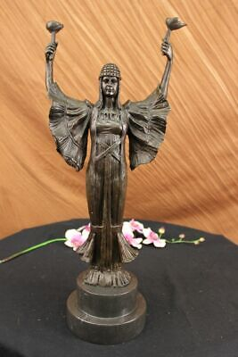 Vintage VIVTORIAN Old BRONZE & MARBLE Figural STATUE Lady & Torch Decorative Gif