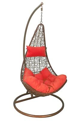 Black Rattan Hanging Swing Egg Chair Red cushion & stand for Garden/Patio/Inside