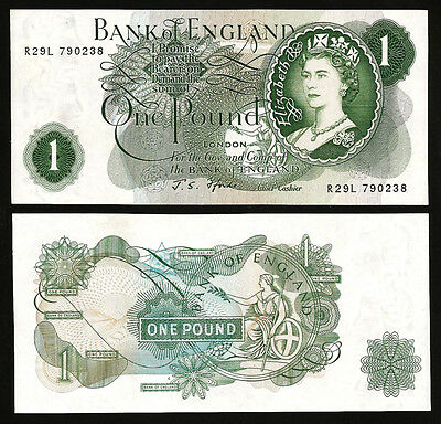 GREAT BRITAIN,ENGLAND 1 POUND 1966 - 70 AU / UNC  P.374f  WITH LETTER G - Fforde
