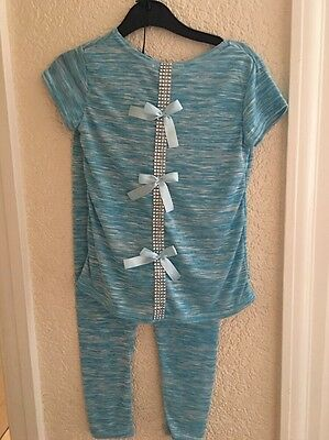 FCL Lounge Suit Age 4 Years Blue Mix Bling & Blue Bows On Back BNWT Short Sleeve