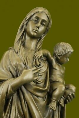 NEW! Mother Mary Madonna With Baby Jesus Bronze Sculpture Figurine Art Deco