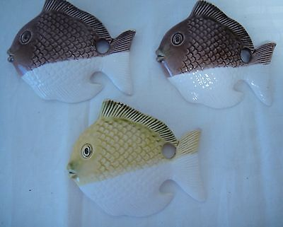 """3 Vintage Woolworth Sun / Angel Fish Wall Pockets - Japan 5""""L LISTING ENDS SOON!"""