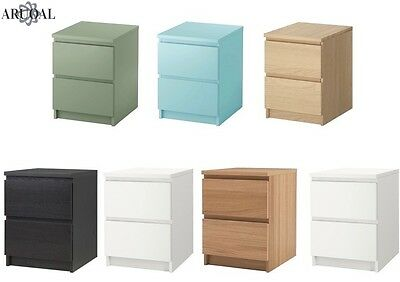 IKEA MALM Chest Of 2 Drawers, Bedside Table, Various Colours W40 X D48 X H55 cm