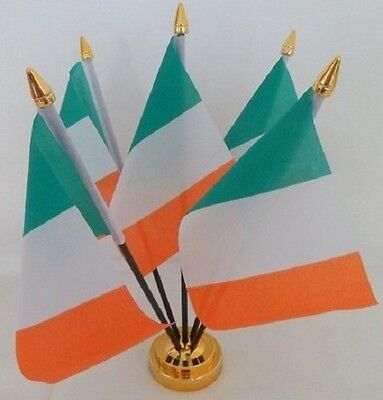 Ireland Tricolour Irish 5 Flag Flags Desktop Table Display Centrepiece Gold Base
