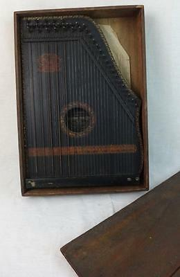 Antique Menzenhauer Wooden Zither in Original Wooden Box w/ Music Sheets