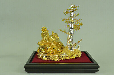 Mythical, Desk Accessory, Shelf Display 24K Gold Plated Bronze Sculpture Statue
