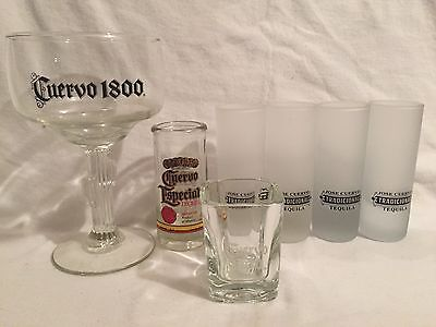 Jose Cuervo Tequila Glass Lot Shot Glasses Margarita Glass