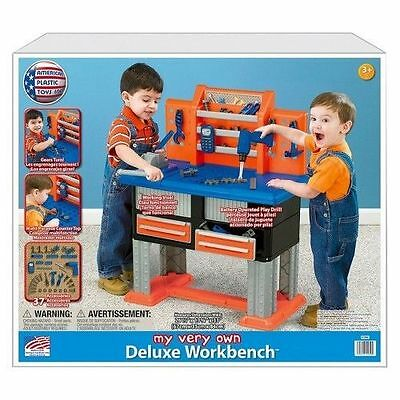 Deluxe Workbench Tool Set Playset 38 PC Hammer Nails Preschool Kid Drill NEW USA