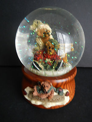 Boyds Bears Snowglobe Snow Globe Musical Numbered Wood Base Glass Vintage Teddy