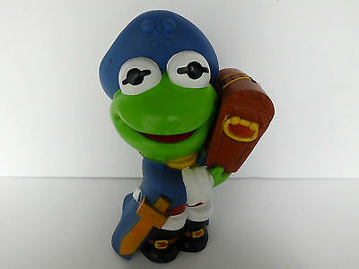 """KERMIT THE FROG Piggy Bank ILLCO 9.5"""" MUPPET BABIES PIRATE VINTAGE 1989"""