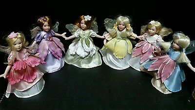 "Fairy Doll Fairies Statue 6pc 7"" Floral Flowers Wings Whimsical Vintage Ceramic"