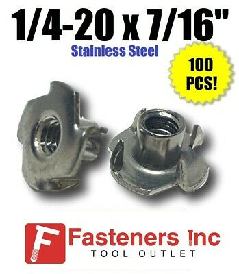 "(Qty 100) 1/4-20 x 7/16"" Long Barrel Stainless Steel T-Nut Tee Nut 4 Prong"