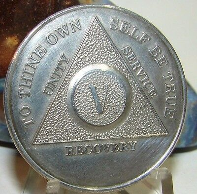 Alcoholics Anonymous NEW 5 Year AA  SILVER .5 oz Medallion token coin chip