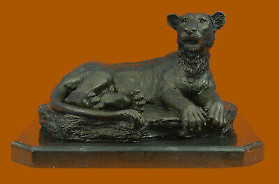 Art Deco Large Female African Wildlife Bronze Sculpture Hot Cast Figure