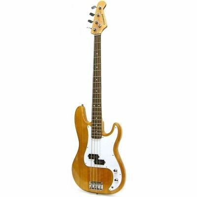 New Crestwood PB970N 4 String Electric Bass Guitar, Natural + Free Shipping