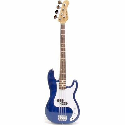 Crestwood PB970TBL 4 String Electric Bass Guitar, Transparent Blue + Ships Free