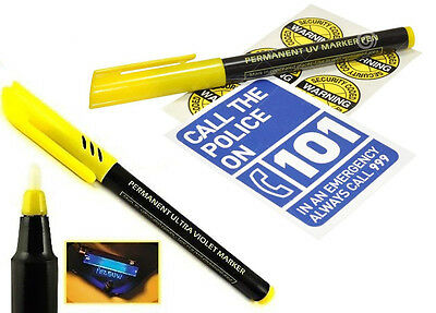 Permanent Ultra Violet Security Marker Pen Invisible UV Ink + Warning Stickers