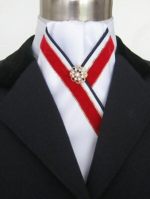 "ERA ""Dillon"" Gathered White Stock Tie Red Velvet Trim Navy Piping & Gold Pin -"