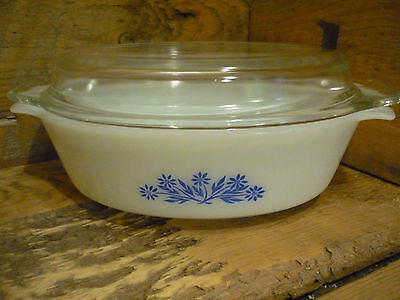 Vintage Anchor Hocking DynaWare 433 1.5 Qt. Casserole w/ Lid Blue Flower Pattern