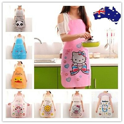 Women Cute Cartoon Waterproof Apron Kitchen Restaurant Cooking Bib Aprons Vest