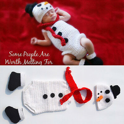 Stylish Baby Crochet Knitted Snowman Style Hat+Pant Outfit Set Photography Prop