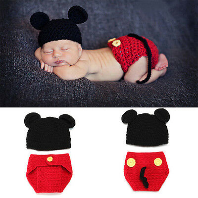 Cute 2pcs Mickey Baby Girls Boys Crochet Knitted Photo Photography Prop Outfits
