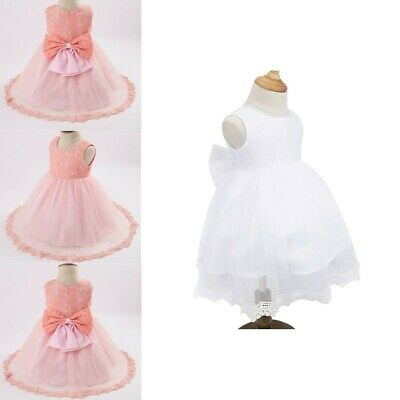 Flower Girl Lace Tutu Dress Toddler Baby Birthday Wedding Princess Pageant Party