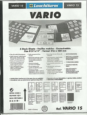 LIGHTHOUSE VARIO 1 STRIP BLACK STAMP ALBUM STOCK SHEETS Pack of 5 pages