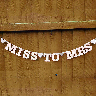 Miss To Mrs Banner Bunting Bridal Shower Bachelorette Hen Party Night Decor New