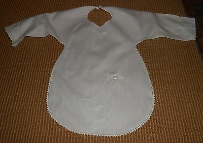 Vintage Cotton Shirt Style Childs Bib Embroidered Goose Detail Ca 1920's